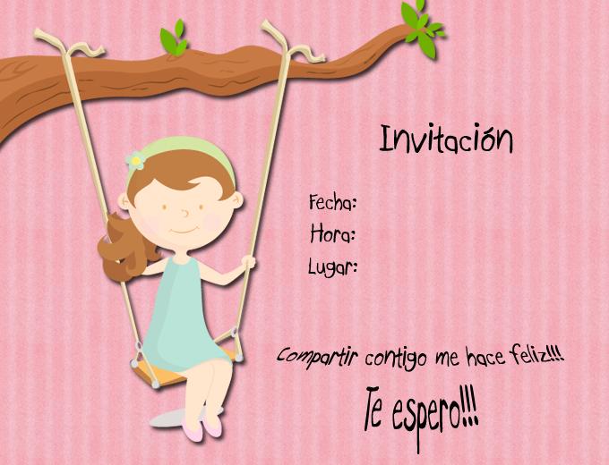 Tarjeta Infantil Invitación A Fiesta De Niña